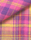 NY designer cotton 2-ply yarn-dyed plaid - citrus/pink