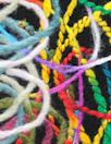 double border yarn scramble coating - multicolor/black