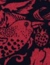 NY designer red/black filigree viscose crepe backed woven