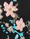 Asian flower jacquard brocade - pink/gold/black