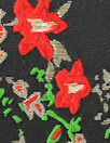 Asian flower jacquard brocade - red/gold/black