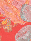 Tah@ri red/orange/aqua floral jacquard brocade