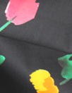 Caroline C0nstas little flowers on black cotton stretch shirting