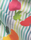 Caroline C0nstas flowers on stripes cotton stretch shirting