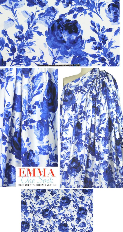 Ny Designer Bluewhite Floral Cotton Stretch Woven From Emmaonesockcom