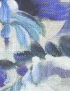 100% linen digital print - porcelain blue flowers