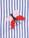 butterfly embroidered blue/white stripe shirting