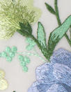 garden floral embroidered sheer mesh - blue/butter