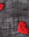 NY designer red hearts embroidered black cotton gauze