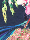 Italian digital viscose knit - navy botanical 1.75 yds