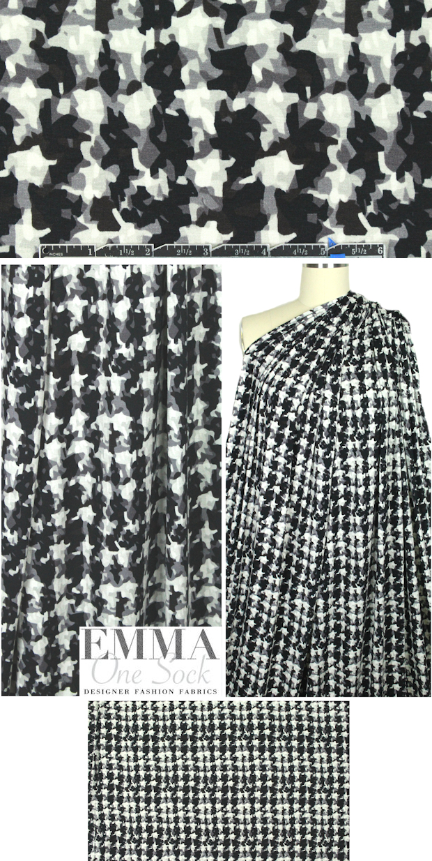 decon. houndstooth rayon/spandex knit - black/gray from EmmaOneSock.com