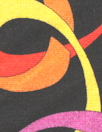 Italian pink/yellow/red ring graphic viscose/span. knit