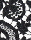 reembroidered double scallop floral lace - black