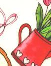 'valentea' cotton lawn - red/green/white