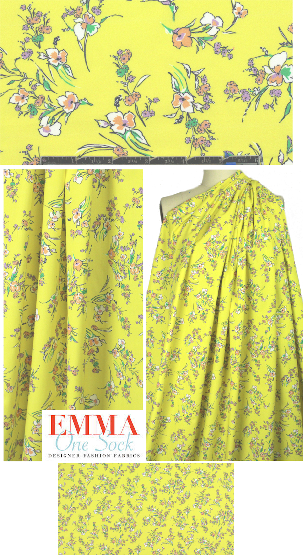 c253c792c French little lemon background floral cotton lawn from EmmaOneSock.com