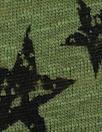 NY designer loden/black star print linen knit