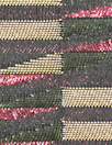 Italian metallic jacqu. brocade - forest/pink graphic 1.875 yd