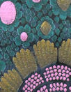 Italian teal/pink border design panel brocade