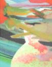 impressionist floral border print polysilk chiffon