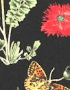 flora and fauna poly 'silk' woven - black/green/red