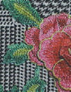 blossoms on glen plaid ponte - rose/gray