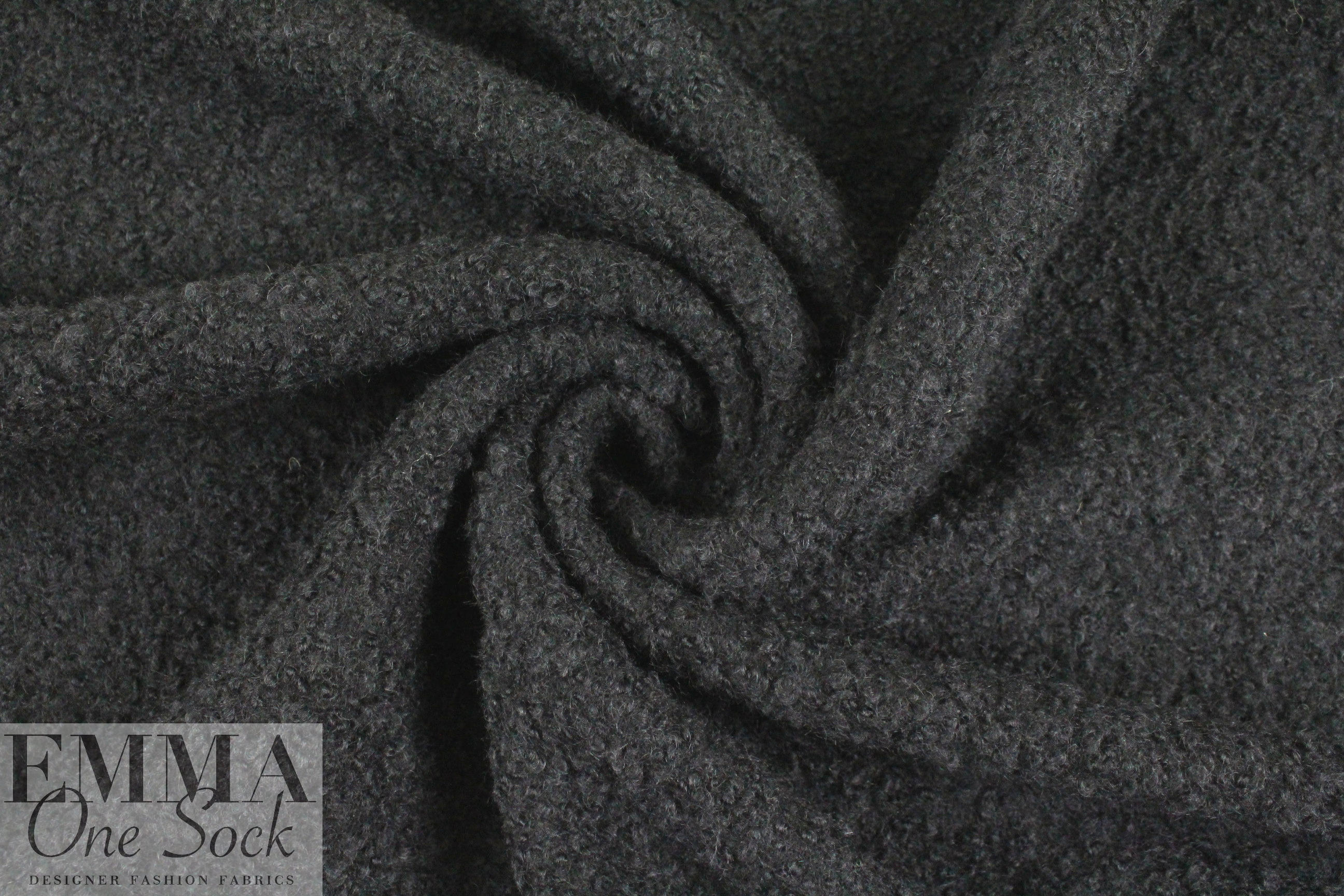 The0ry Textured Poodle Boucle Wool Coating Black From Ply Conversion Tables Fabric Photo