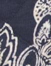 French printed 3-ply quilted-look knit - navy deco flor