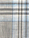 sky/black/white yarn-dyed rayon/linen plaid