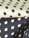 Italian midnight/ivory polkadot reversible stretch jacquard