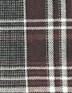 Italian brick/gray plaid cotton stretch shirting