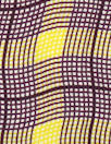 NY designer mulberry/lemon wavy plaid silk CDC 1.75 yds