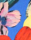 NY designer 'cobalt bouquet' silk crepe de chine