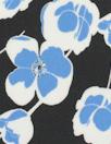 NY designer blue floral stretch silk georgette