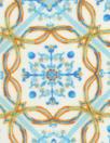 NY designer blue/nectarine medallion silk blouseweight