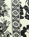 Italian double border silk charmeuse - black/ivory 2 yd