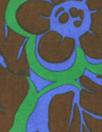 NY designer blue/kelly/nutmeg floral silk blouseweight .75 yds
