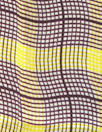 NY designer mulberry/lemon wavy plaid silk charmeuse