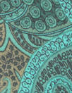 NY designer teal/cocoa paisley silk georgette