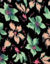 Italian silk crepe de chine - peach/mint little floral