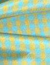 NY designer sky/gold gingham check silk taffeta