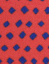 famous designer navy diamonds on red silk twill