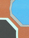 NY designer octagon graphic silk twill - copper/blue