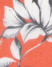Italian silk voile - b/w flowers on mandarin red