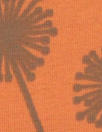 Dutch 'dandelion puffs' bio-cotton knit - orange/loden 1.5 yd