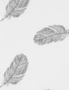 Dutch digital feathers cotton poplin - gray on white