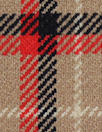 NY designer stretch yarn dyed plaid - red/black/camel