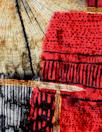 'organic shapes' design stretch velvet - red/tan 1 yard