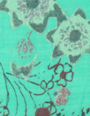 French digital cotton voile - jade/brick floral