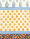 Italian navy/tangerine graphic cotton voile