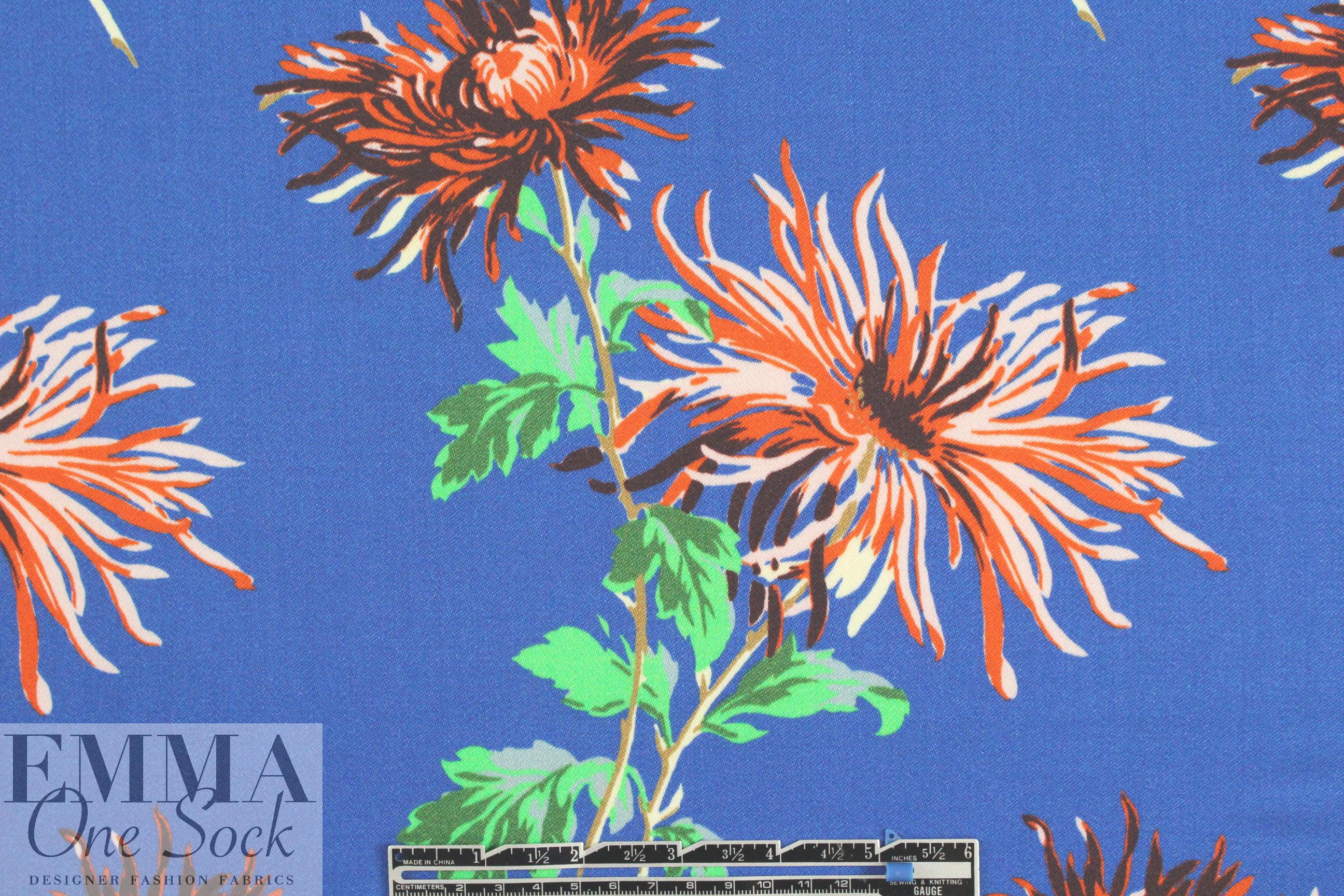 Famouse Designer Flowers On Blue Woolsilk Woven From Emmaonesock